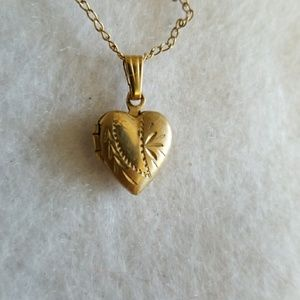14kt GF HEART LOCKET Vintage Dainty